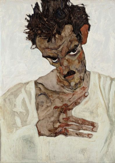 Schiele, Egon: Self-Portrait with Lowered Head. Fine Art Print/Poster. Sizes: A4/A3/A2/A1 (003716)